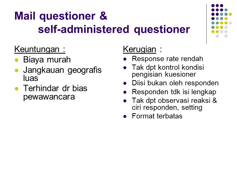 Mail questioner & self-administered questioner