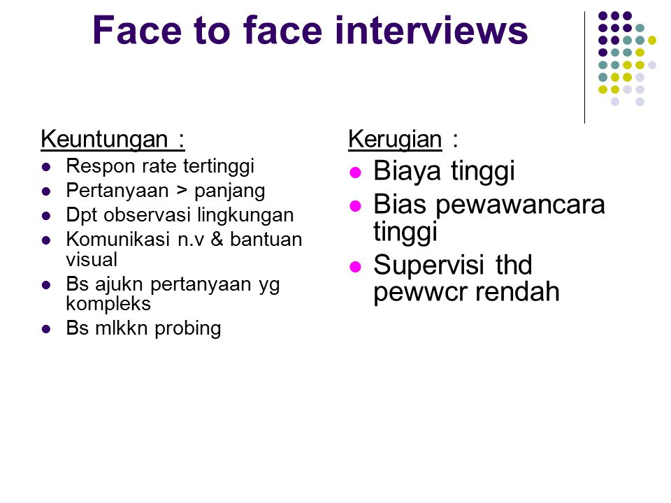 Face to face interviews
