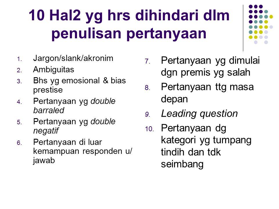 10 Hal2 yg hrs dihindari dlm penulisan pertanyaan
