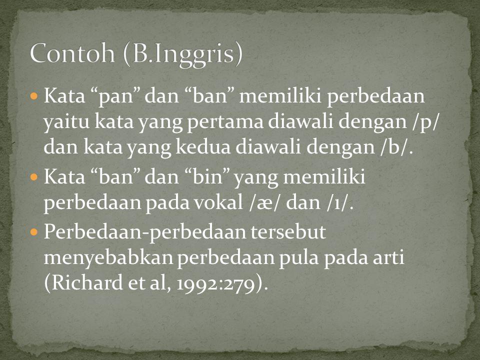 Contoh (B.Inggris) Kata pan dan ban memiliki perbedaan yaitu kata yang pertama diawali dengan /p/ dan kata yang kedua diawali dengan /b/.