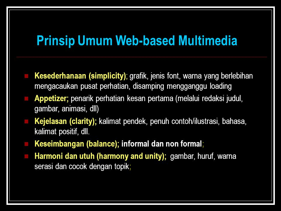 Prinsip Umum Web-based Multimedia