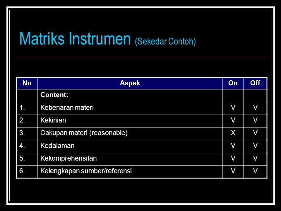Matriks Instrumen (Sekedar Contoh)