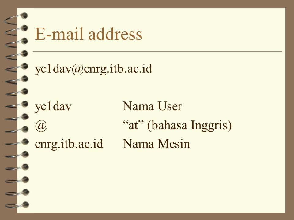 E-mail address yc1dav@cnrg.itb.ac.id yc1dav Nama User