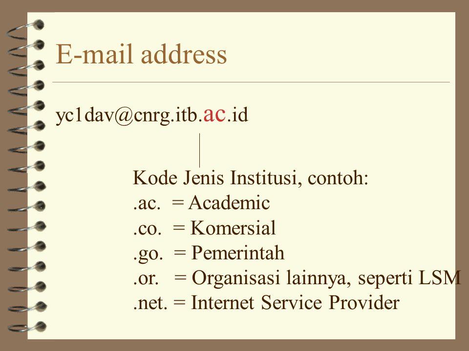 E-mail address yc1dav@cnrg.itb.ac.id Kode Jenis Institusi, contoh: