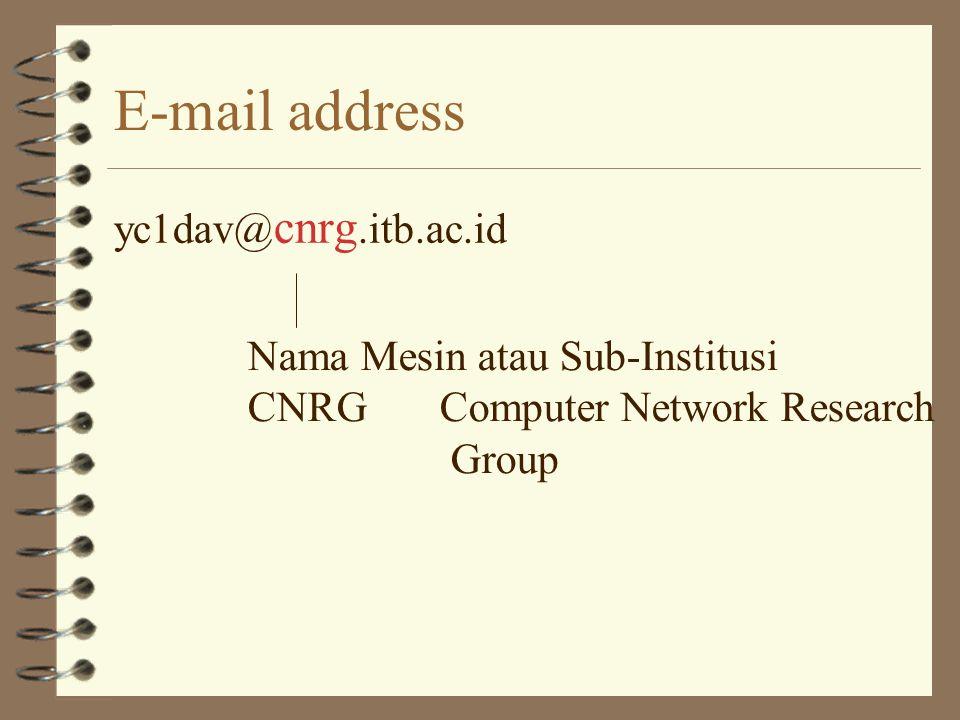 E-mail address yc1dav@cnrg.itb.ac.id Nama Mesin atau Sub-Institusi