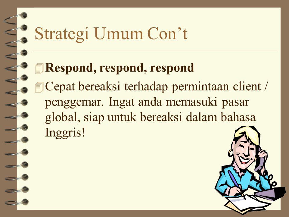 Strategi Umum Con't Respond, respond, respond