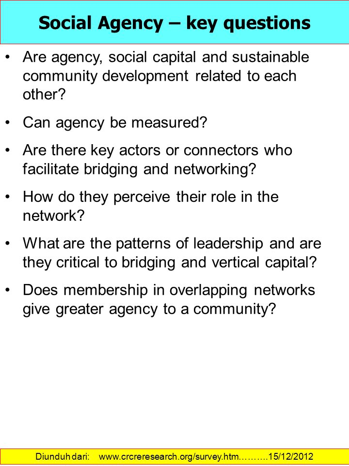 Social Agency – key questions
