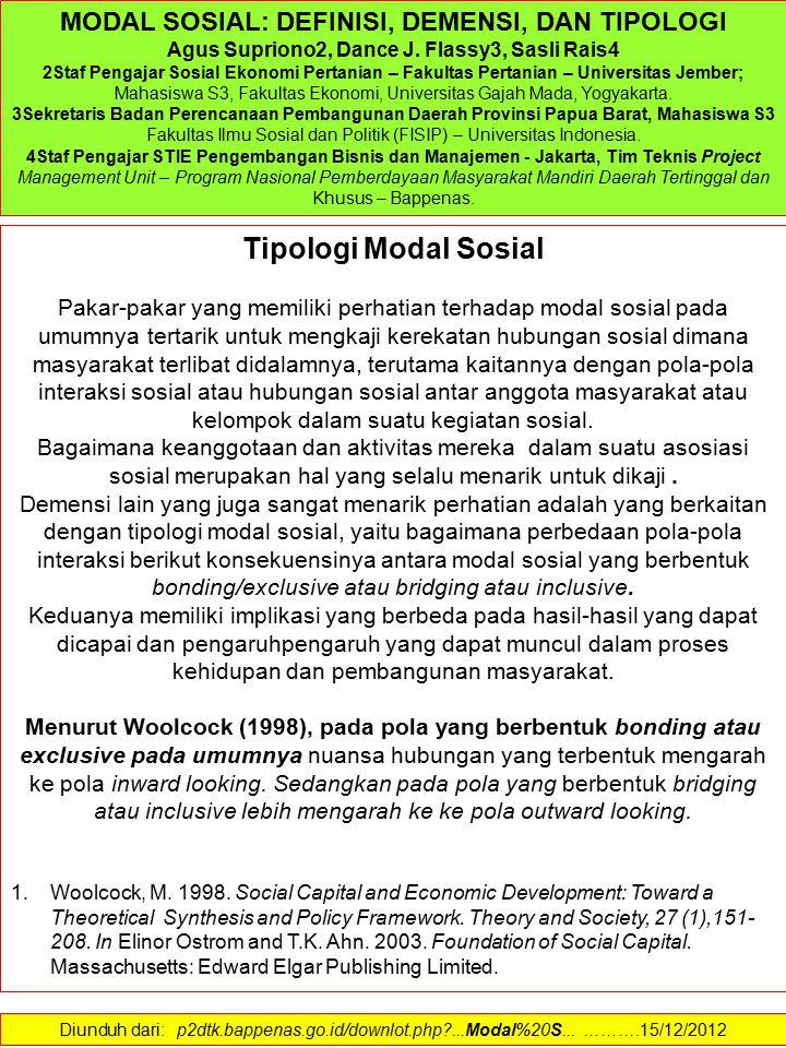 Tipologi Modal Sosial MODAL SOSIAL: DEFINISI, DEMENSI, DAN TIPOLOGI