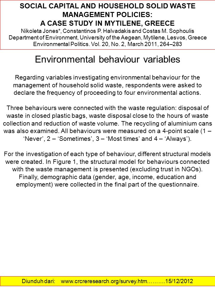 Environmental behaviour variables