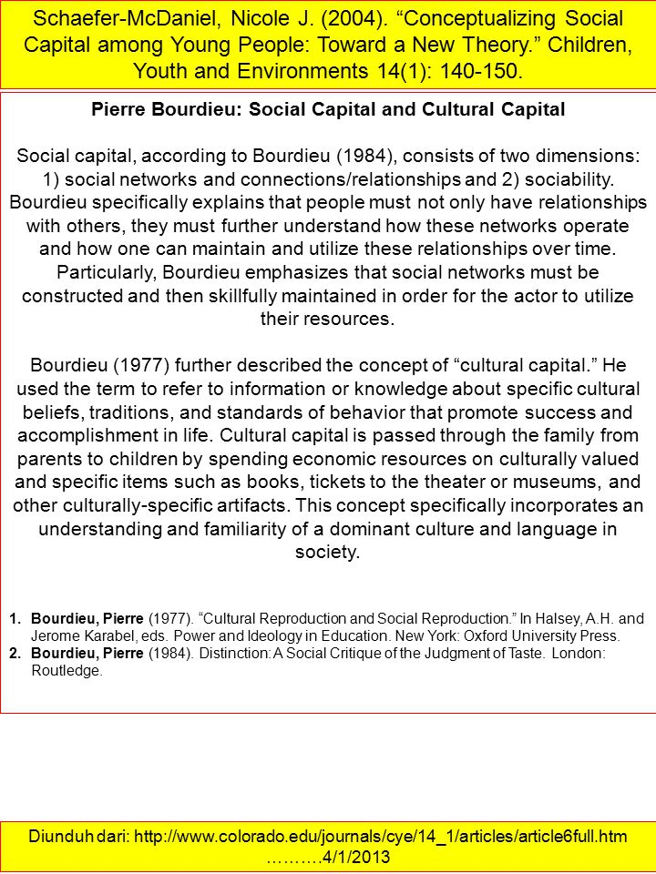 Pierre Bourdieu: Social Capital and Cultural Capital