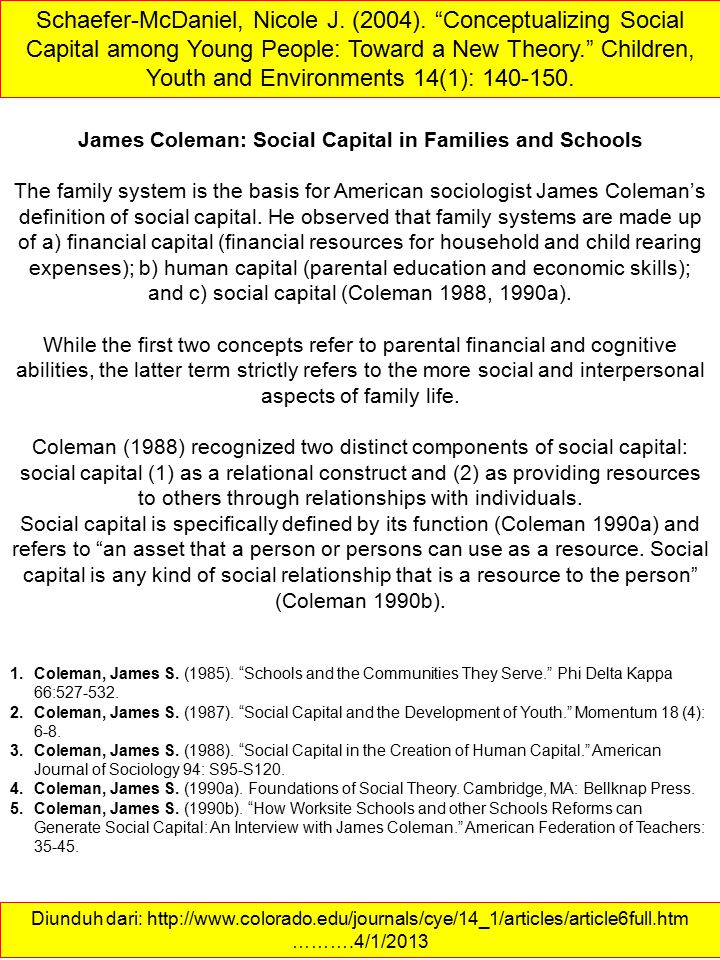 James Coleman: Social Capital in Families and Schools
