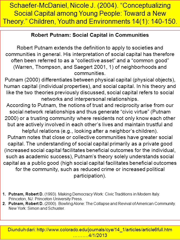 Robert Putnam: Social Capital in Communities