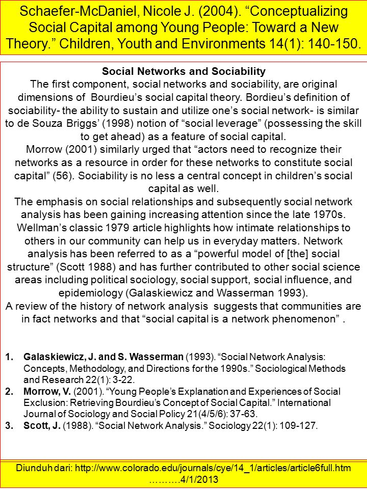 Social Networks and Sociability