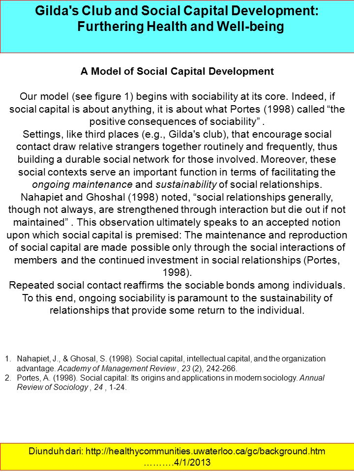 A Model of Social Capital Development