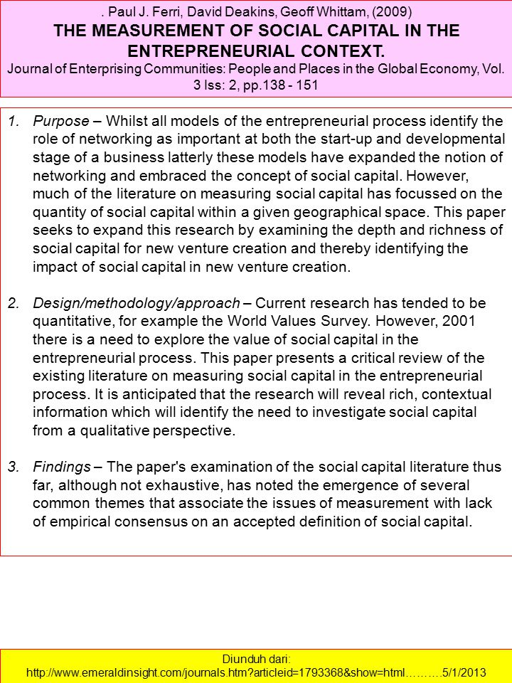 THE MEASUREMENT OF SOCIAL CAPITAL IN THE ENTREPRENEURIAL CONTEXT.