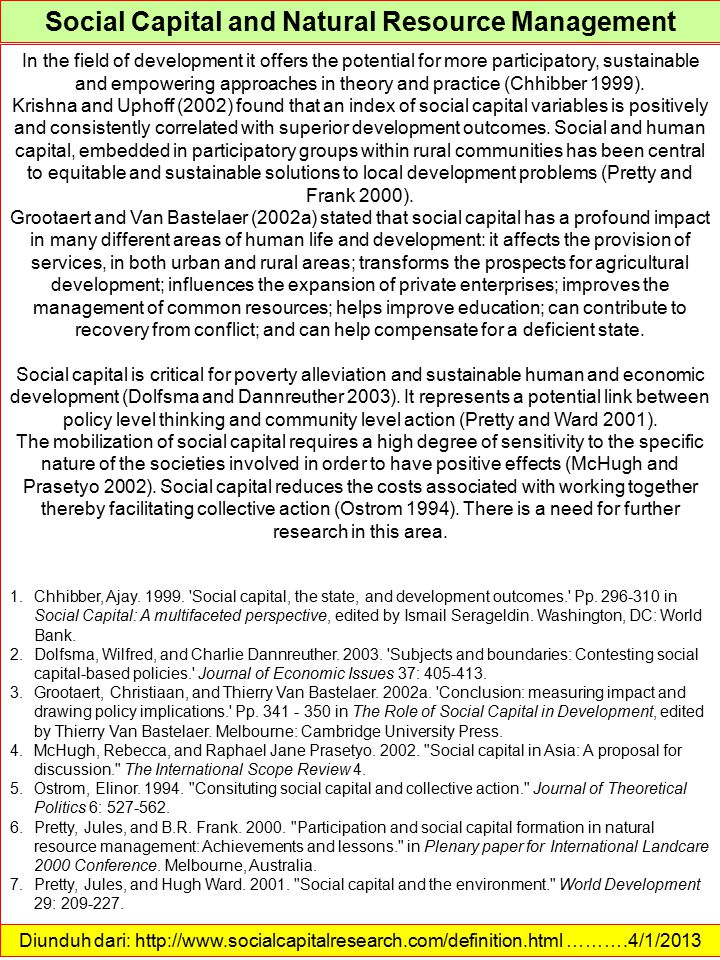 Social Capital and Natural Resource Management