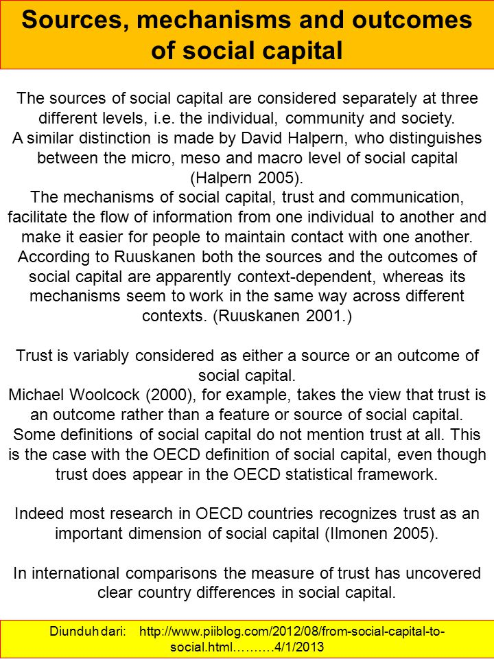 Sources, mechanisms and outcomes of social capital