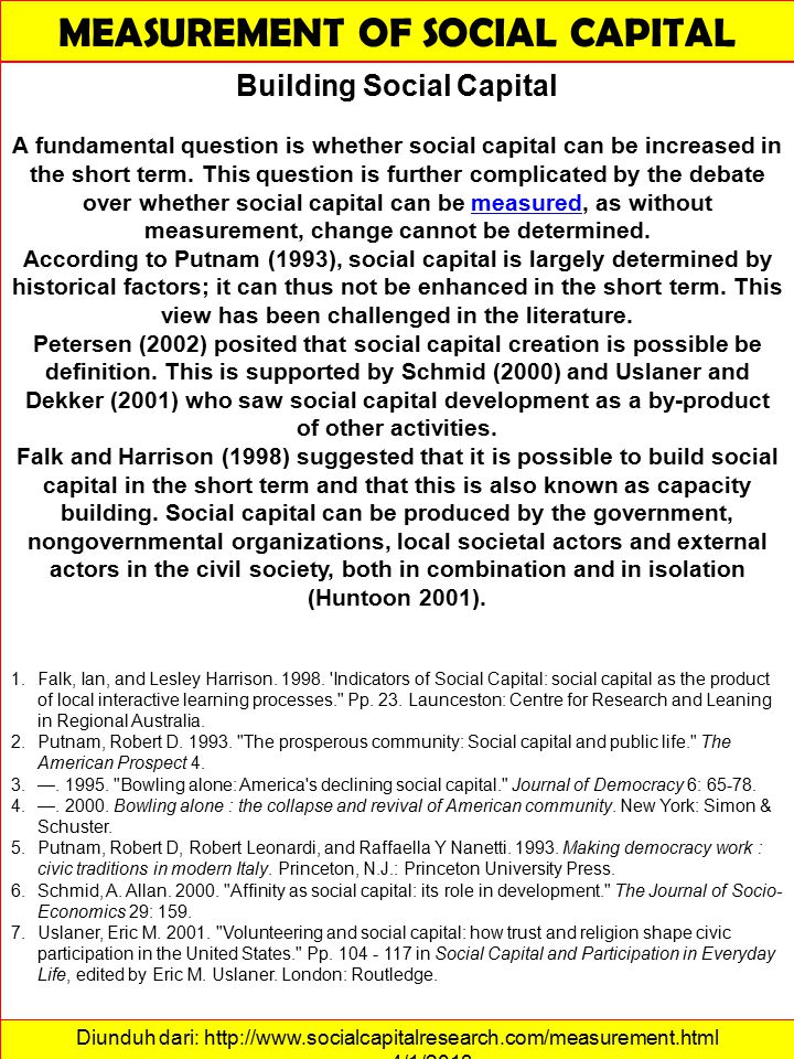 MEASUREMENT OF SOCIAL CAPITAL Building Social Capital