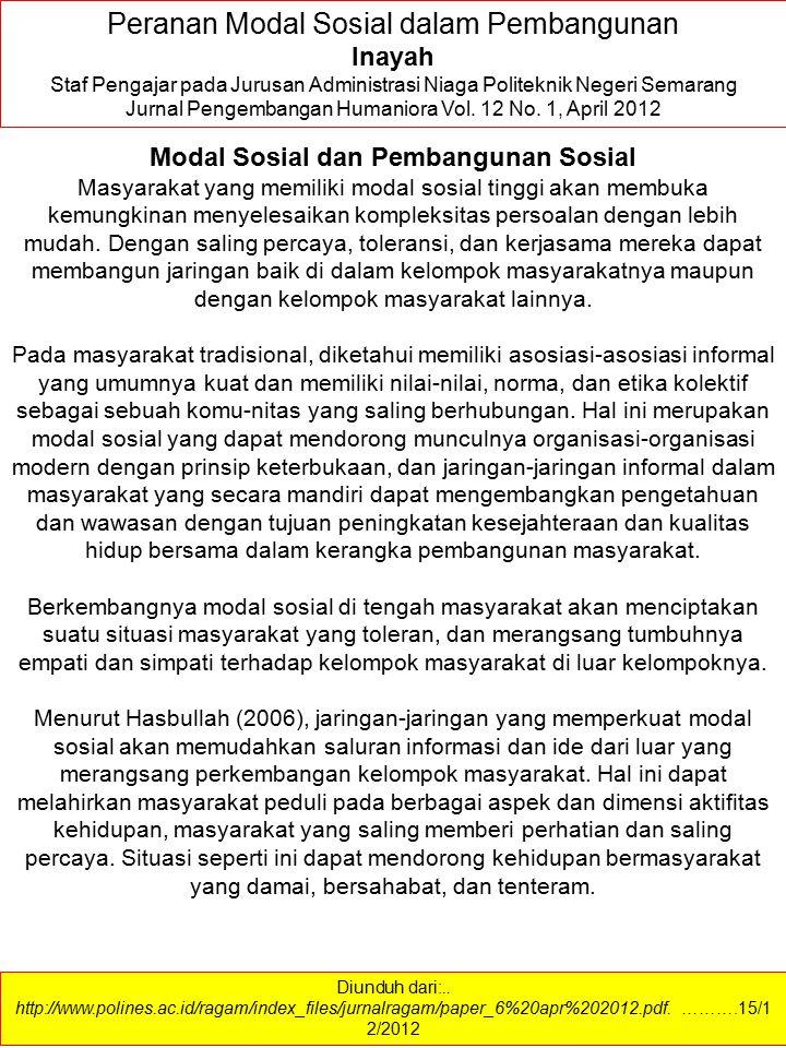 Modal Sosial dan Pembangunan Sosial