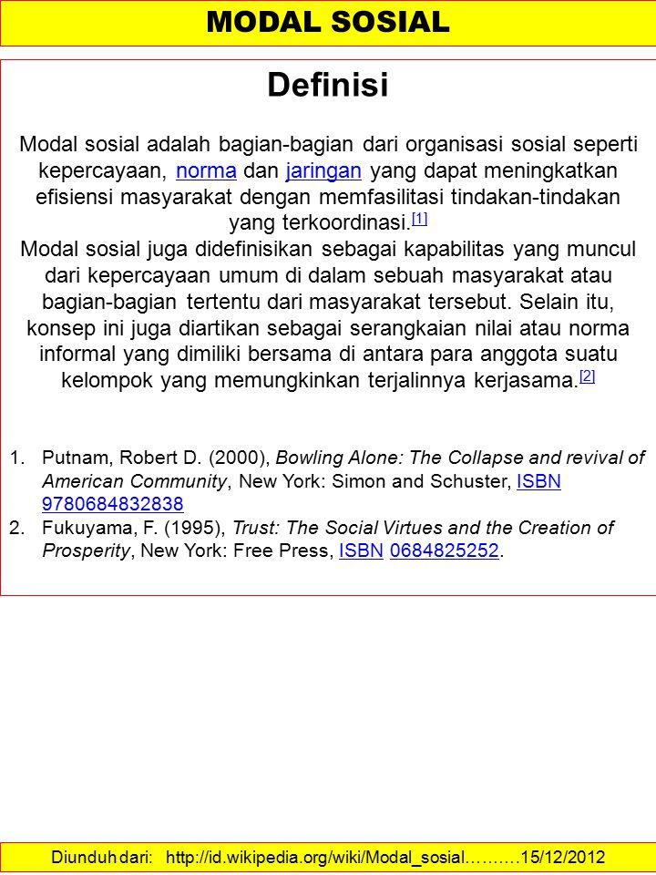 Diunduh dari: http://id.wikipedia.org/wiki/Modal_sosial……….15/12/2012
