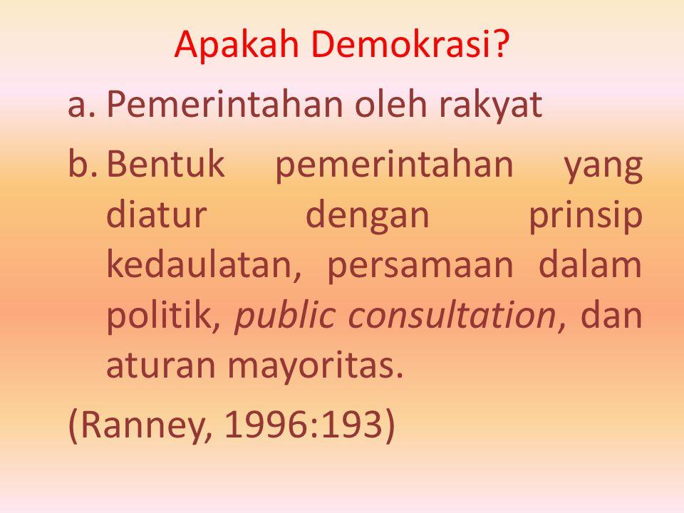 Apakah Demokrasi Pemerintahan oleh rakyat.