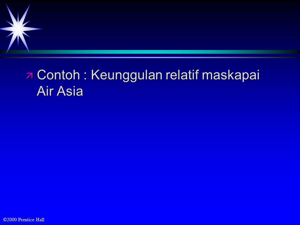 Contoh : Keunggulan relatif maskapai Air Asia