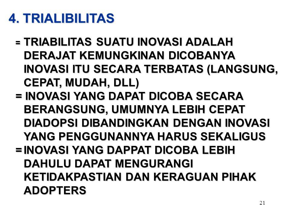 4. TRIALIBILITAS = TRIABILITAS SUATU INOVASI ADALAH DERAJAT KEMUNGKINAN DICOBANYA INOVASI ITU SECARA TERBATAS (LANGSUNG, CEPAT, MUDAH, DLL)