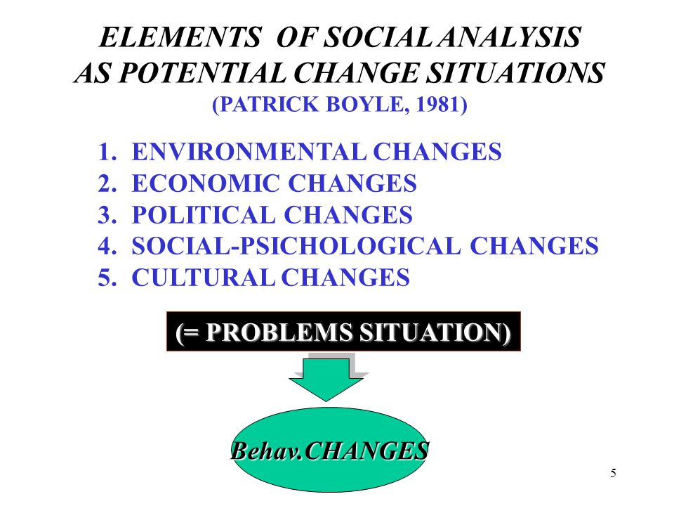 ELEMENTS OF SOCIAL ANALYSIS AS POTENTIAL CHANGE SITUATIONS