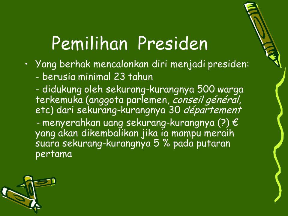 Pemilihan Presiden Yang berhak mencalonkan diri menjadi presiden: