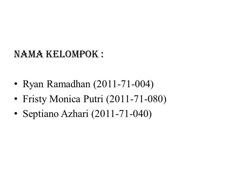 Nama Kelompok : Ryan Ramadhan (2011-71-004) Fristy Monica Putri (2011-71-080) Septiano Azhari (2011-71-040)