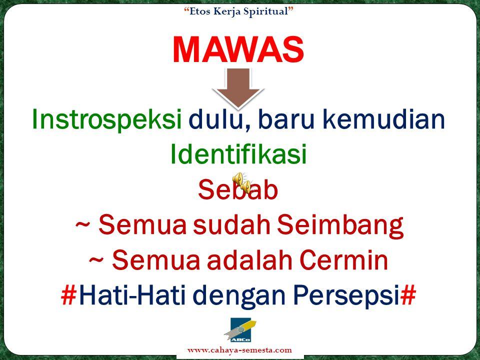 MAWAS Instrospeksi dulu, baru kemudian Identifikasi Sebab