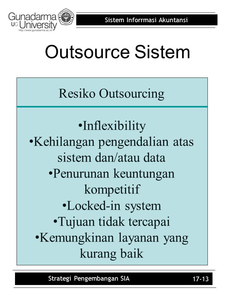 Outsource Sistem Resiko Outsourcing Inflexibility