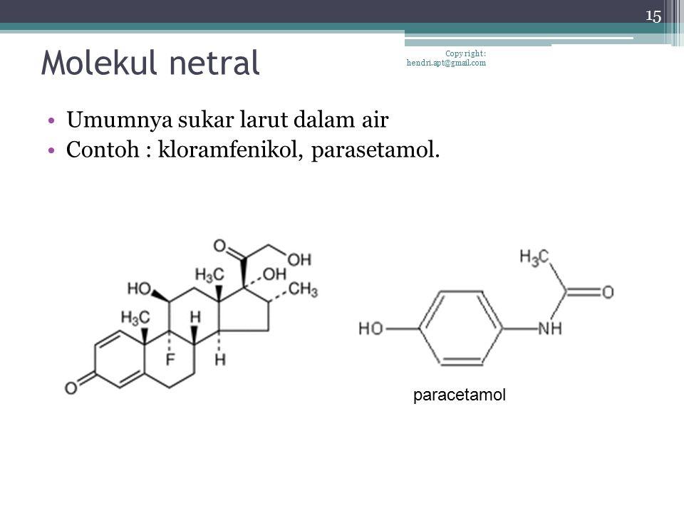 Molekul netral Umumnya sukar larut dalam air