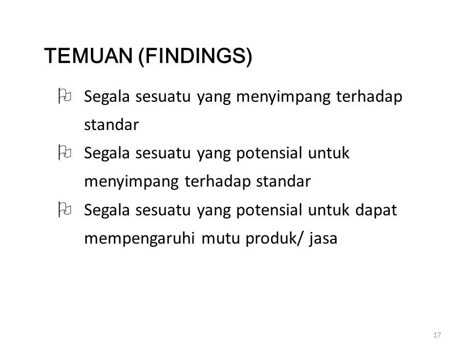 TEMUAN (FINDINGS) Segala sesuatu yang menyimpang terhadap standar