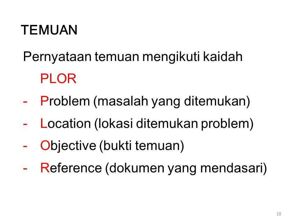 TEMUAN Pernyataan temuan mengikuti kaidah PLOR. Problem (masalah yang ditemukan) Location (lokasi ditemukan problem)