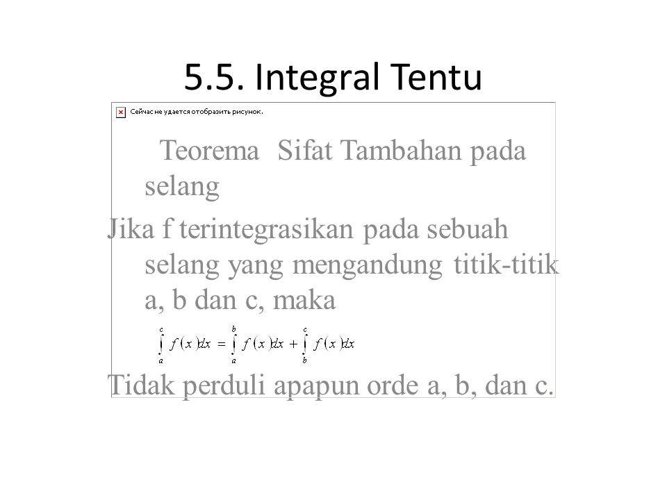 5.5. Integral Tentu Teorema Sifat Tambahan pada selang