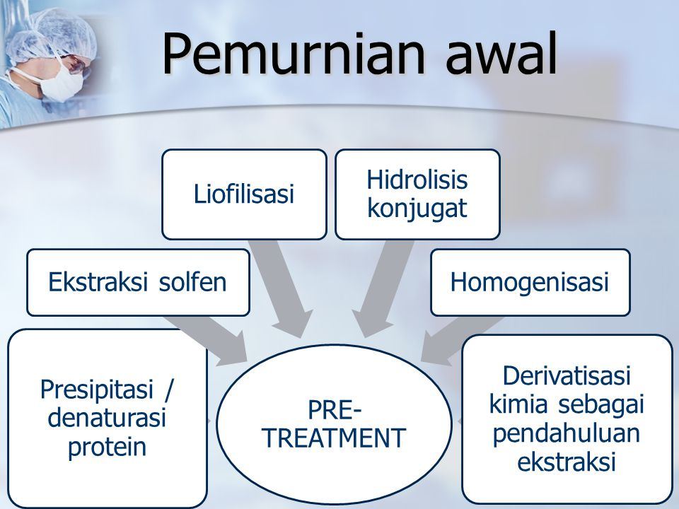 Pemurnian awal PRE-TREATMENT Presipitasi / denaturasi protein