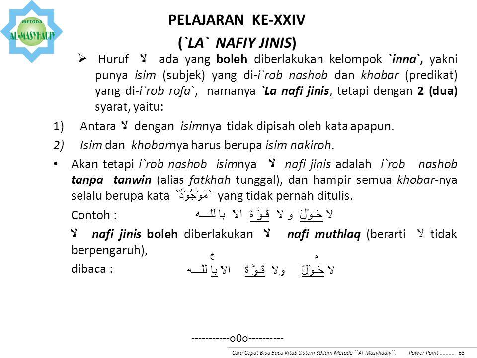 PELAJARAN KE-XXIII (ISTITSNA`)