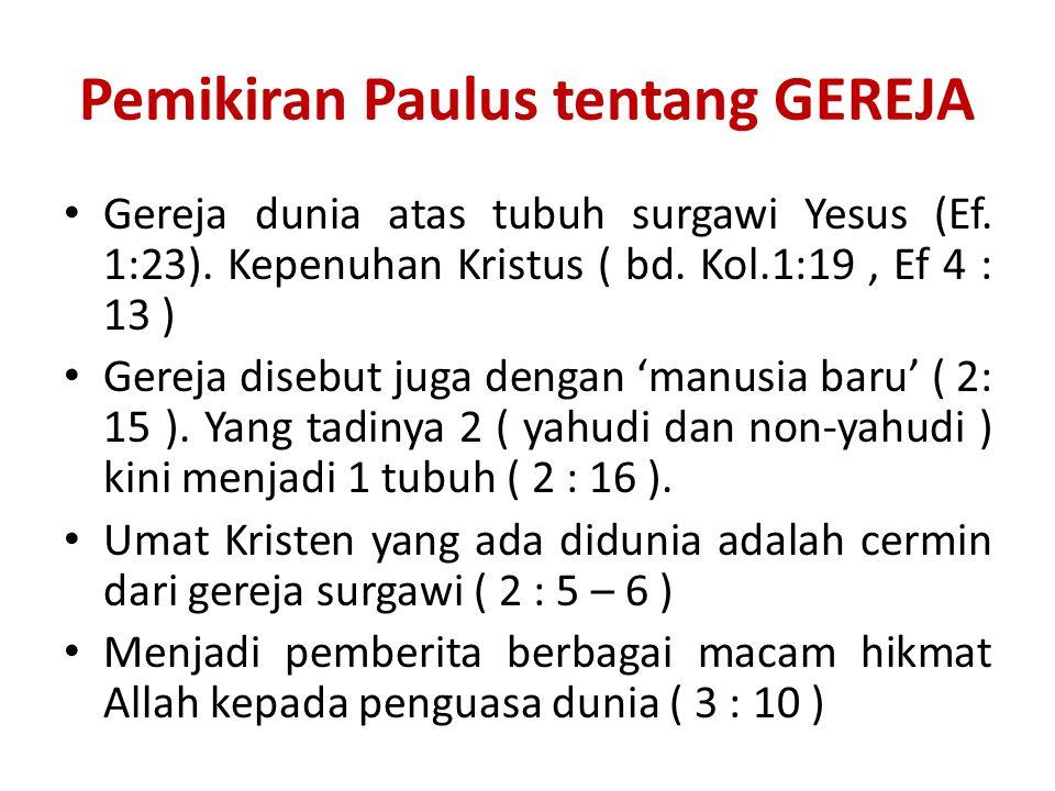 Pemikiran Paulus tentang GEREJA