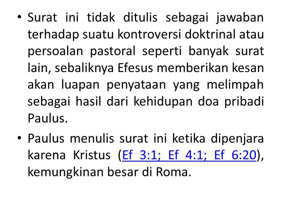Surat ini tidak ditulis sebagai jawaban terhadap suatu kontroversi doktrinal atau persoalan pastoral seperti banyak surat lain, sebaliknya Efesus memberikan kesan akan luapan penyataan yang melimpah sebagai hasil dari kehidupan doa pribadi Paulus.