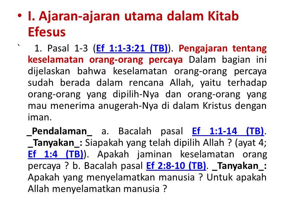 I. Ajaran-ajaran utama dalam Kitab Efesus