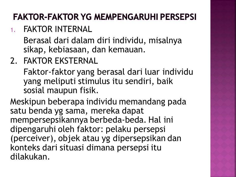 FAKTOR-FAKTOR YG MEMPENGARUHI PERSEPSI