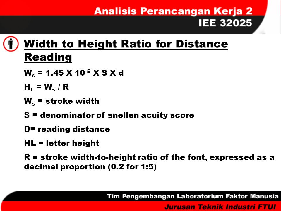 Width to Height Ratio for Distance Reading