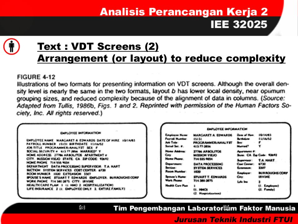 Text : VDT Screens (2) Arrangement (or layout) to reduce complexity
