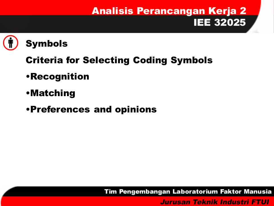 Criteria for Selecting Coding Symbols Recognition Matching