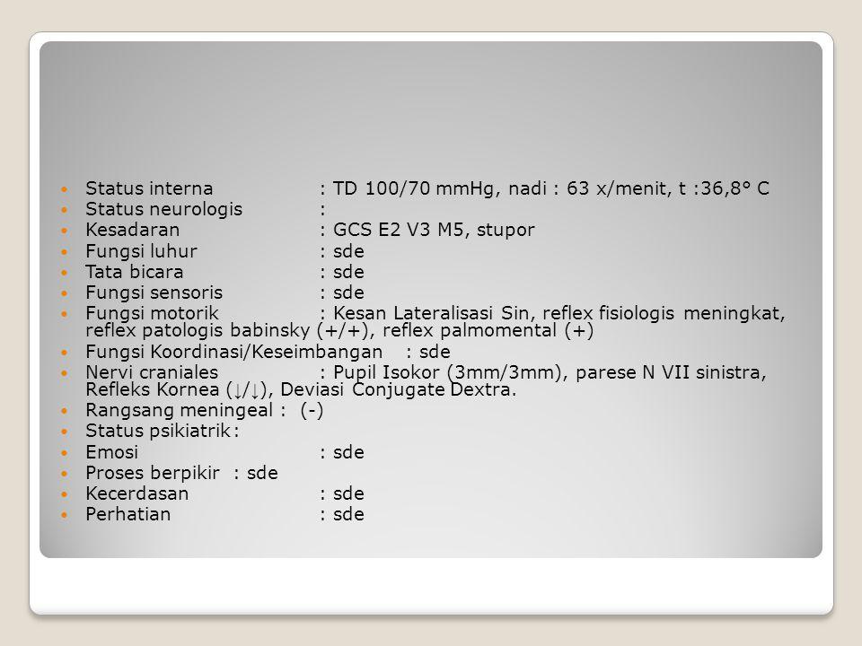 Status interna : TD 100/70 mmHg, nadi : 63 x/menit, t :36,8° C