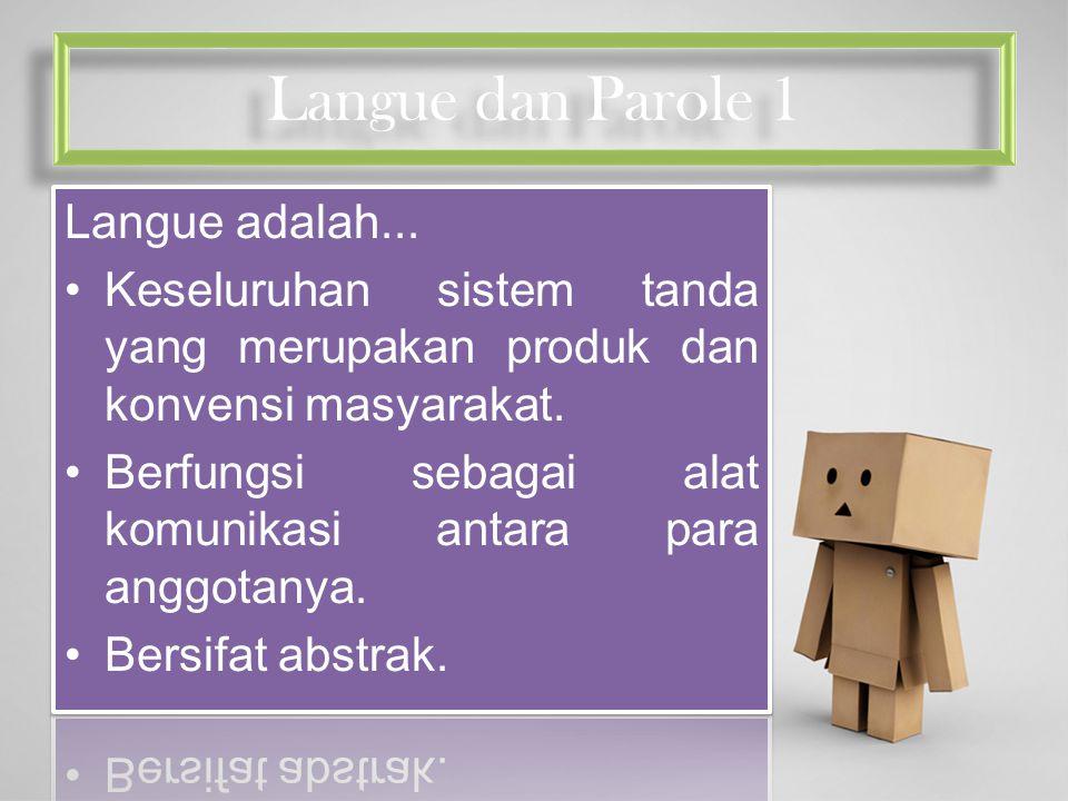 Langue dan Parole 1 Langue adalah...