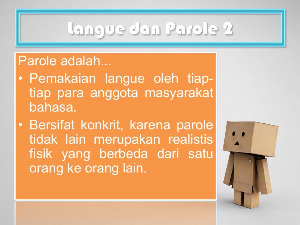 Langue dan Parole 2 Parole adalah...