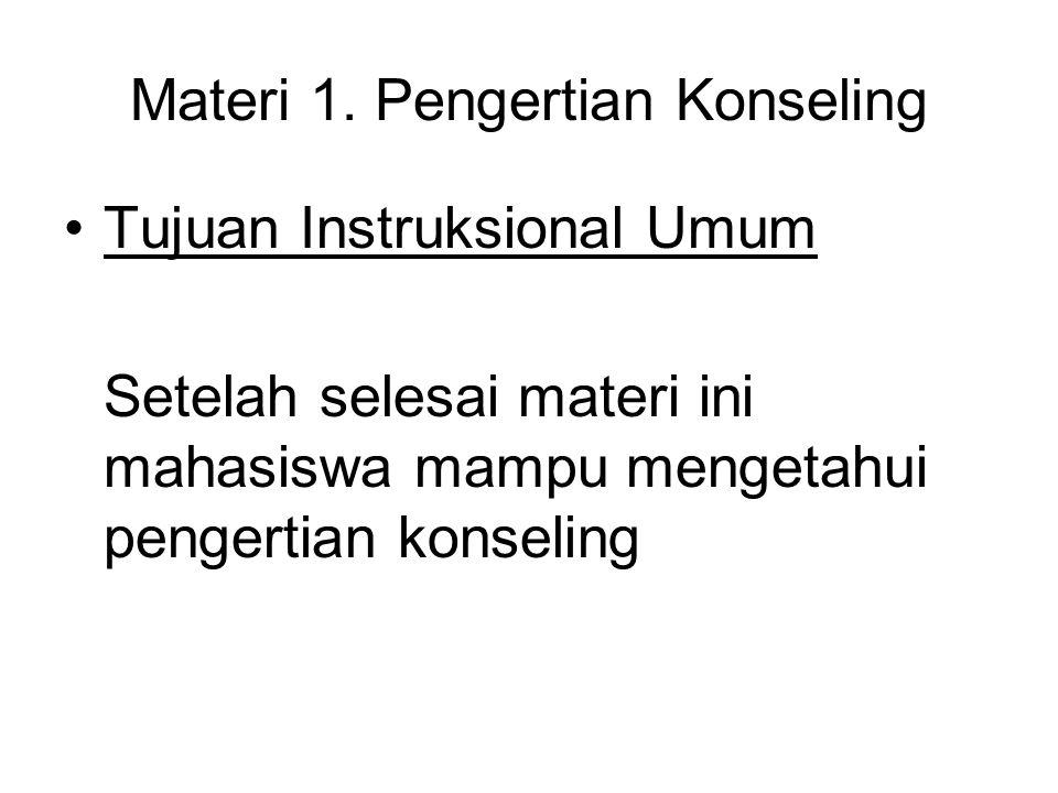 Materi 1. Pengertian Konseling