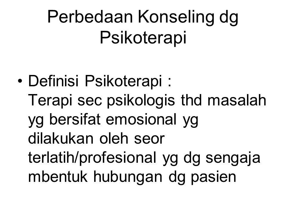 Perbedaan Konseling dg Psikoterapi
